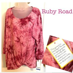 RUBY RD Hand Dyed Top w Rolled Gather Hem